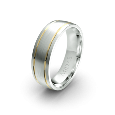 Traditional Wedding Band with Inlay Edges (QF1380)