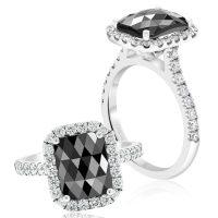 Black Diamond Cushion Cut Engagement Ring