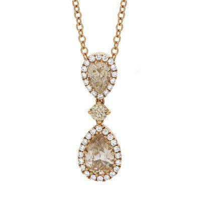 Diamond Double pear Shape Pendant