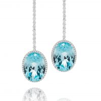Oval Cut Aquamarine Drop Earrings