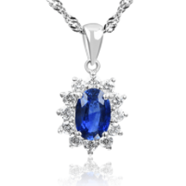 Sapphire and Sun Diamond Pendant