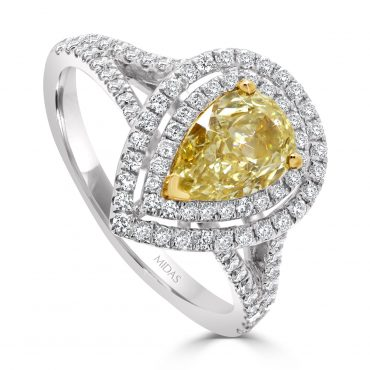 Fancy Yellow Pear Diamond with Double Halo