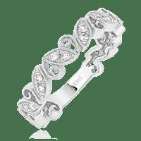 Leafy Diamond with Milgrain Wedding Band