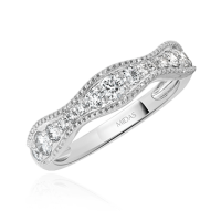 Curved Round Diamond Wedding Band