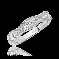 Curved Round Diamond Wedding Ring