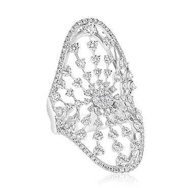 Diamond Ray Shield Ring