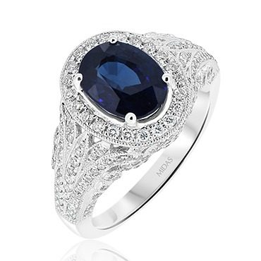 Vintage Ceylon Sapphire and Diamond Halo Ring