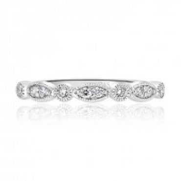 Milgrain Round and Marquise Diamond Ring