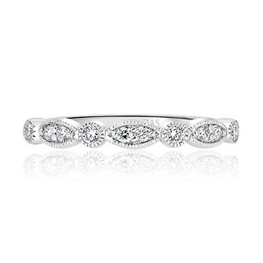 Milgrain Round and Marquise Diamond Ring