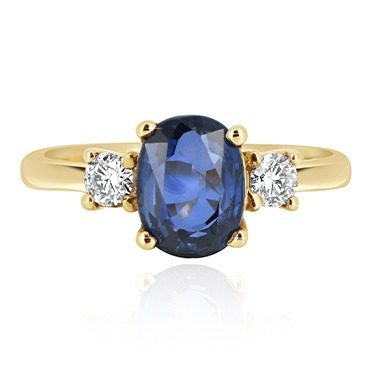 Oval Sapphire with Round Diamond Trilogy