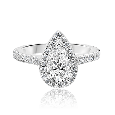 Dazzling Pear Shape with Seamless Diamond Halo
