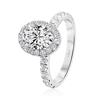 Oval Engagement Ring with Single Round Brilliant Halo