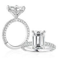Emerald Cut Diamond Band Engagement Ring