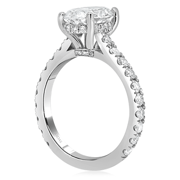 Oval Solitaire with Hidden Halo and Diamond Band
