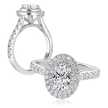 Oval Cut Engagement Ring with Double Round Diamond Halo
