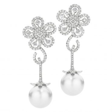 Pearl and Diamond Flower Drop Earrings