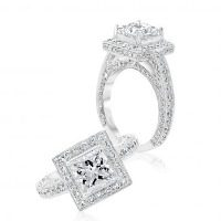 Princess Cathedral Halo Engagement Ring