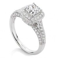 Cushion Cut Pavé Halo Engagement Ring