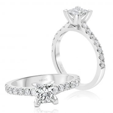 Princess Cut with Round Brilliant Diamond Shoulders