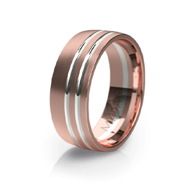 Modern Ring with Twin Inlays (QF1107)