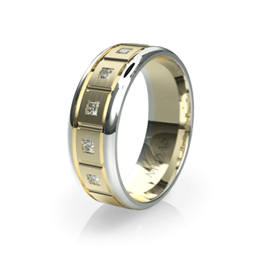 Panneled Wedding Band with Diamonds (QF1144D)