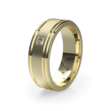 Double Ringed Band with Diamond (QF1174D)
