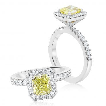 Radiant Fancy Yellow Diamond Engagement Ring