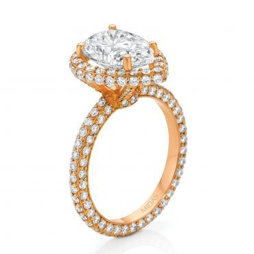 Rose Gold Pavé Pear Shaped Diamond Engagement Ring
