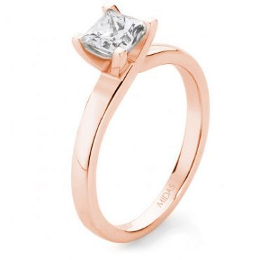 Solitaire Princess Cut Diamond – Rose Gold