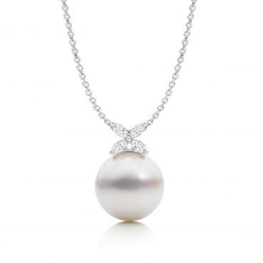 South Sea Pearl and Diamond Flower Necklace