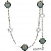Tahitian Black Pearl and Diamond circle necklace