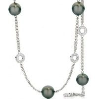 Tahitian Black Pearl and Diamond circle necklace