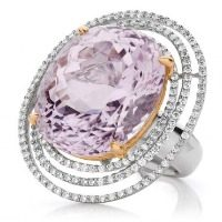 Triple halo rose Kunzite Ring