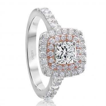 Two-toned Halo Cushion Cut Engagement Ring