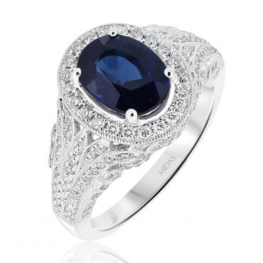 Vintage Ceylon Sapphire and Diamond Halo Ring