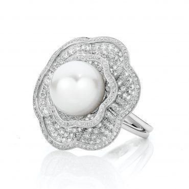 Vintage Inspired Pearl and Diamond Ring