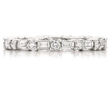 Baguette and Round Cut Diamond Wedding Band