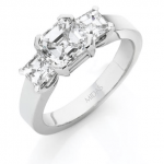 Asscher Cut White Gold Trilogy Ring